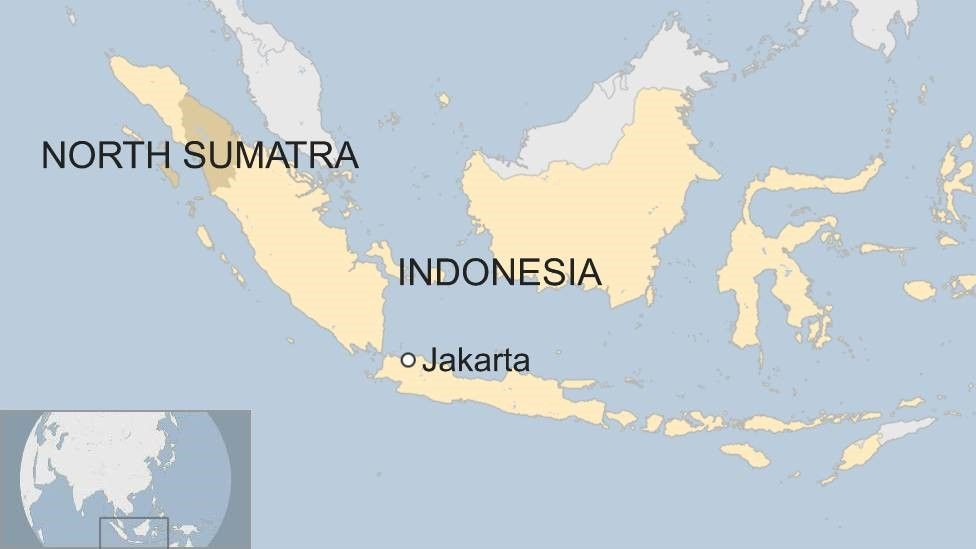 Map showing Indonesia and North Sumatra