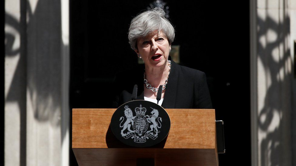 Theresa May outside Downing Street