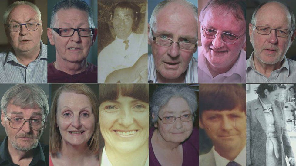 Clark family from top right: Andrew, Bernard, Billy, David, George, Ian, James, Joan, Mary Ann, Sandra, Tommy and Elizabeth O'Brien