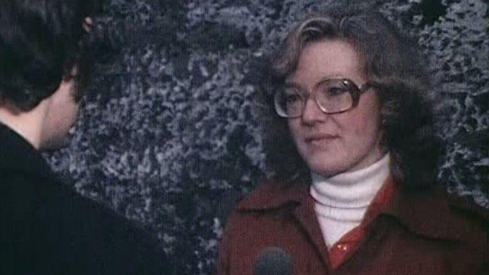 Wendy Austin interviewing in 1978 on BBC Northern Ireland