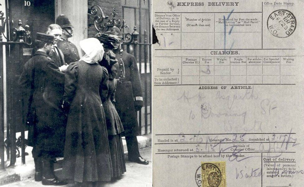 Suffragettes being delivered to 10 Downing Street/Delivery note