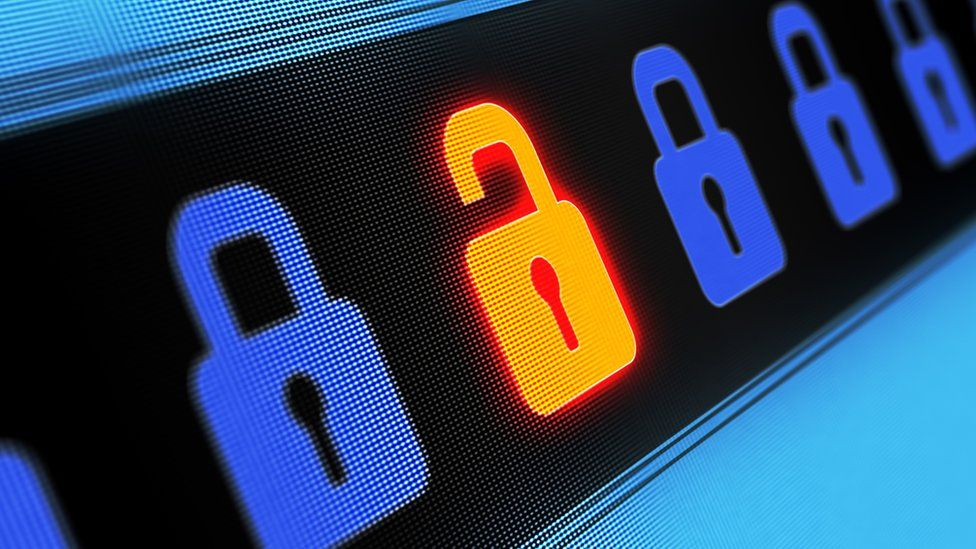 An illustration of a padlock on a computer screen