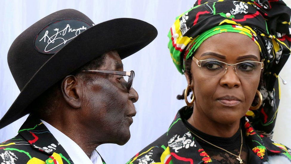 President Robert Mugabe and his wife Grace attend a Zanu-PF rally in Chinhoyi, Zimbabwe, July 29, 2017