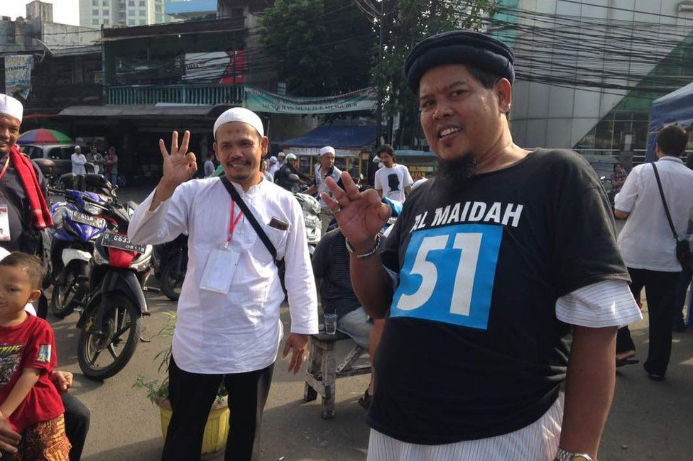 Picture of Islamist hardliners at the Jakarta governor election on 19 April 2017