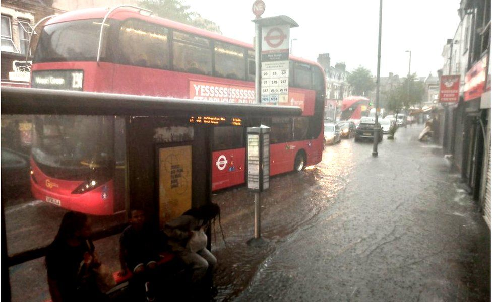 flooding at Bakers Arms, Walthamstow