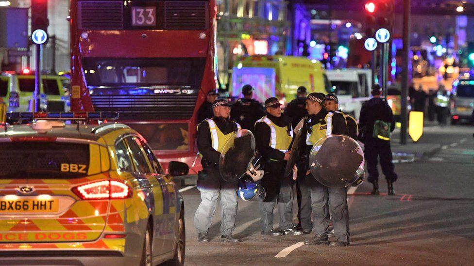 The scene from the London Bridge attack