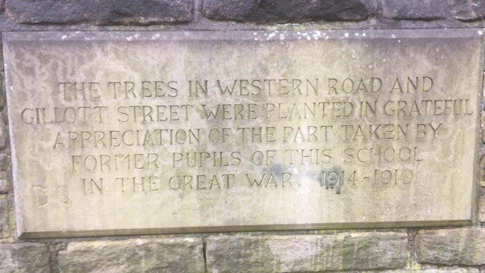 Memorial plaque in Western Road, Sheffield