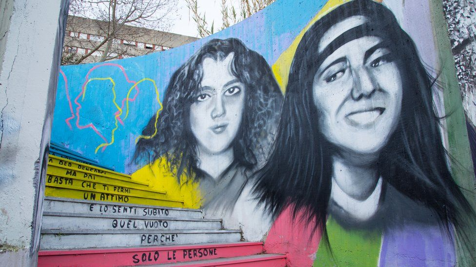 A mural to remember Emanuela Orlandi and Mirella Gregori, girls who disappeared in 1983, in Rome