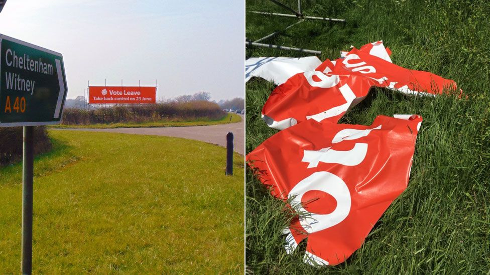 Damaged Witney sign before and after