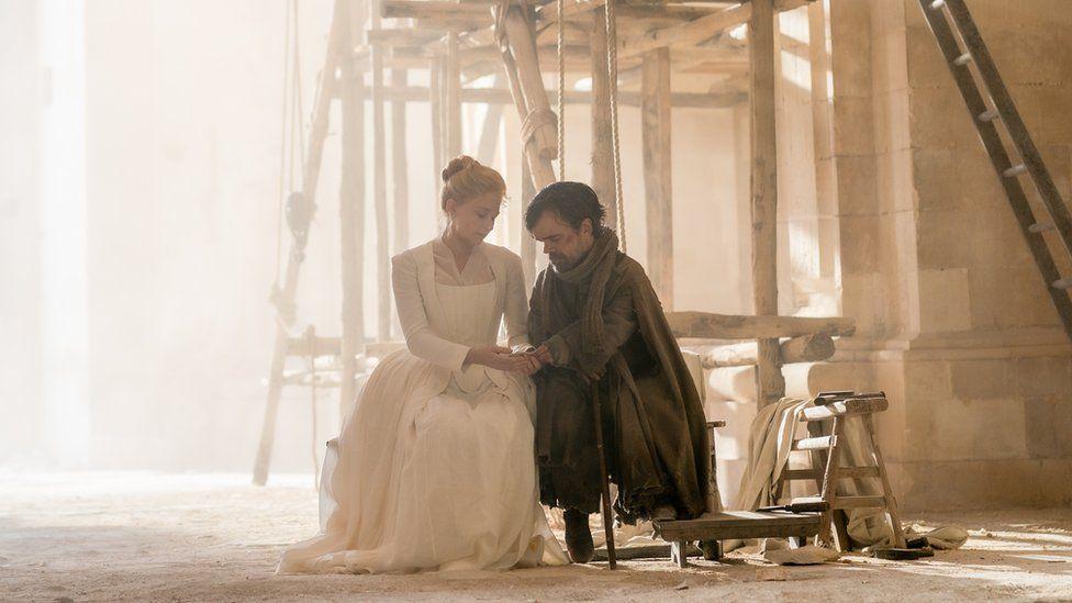 Haley Bennett stars as Roxane and Peter Dinklage as Cyrano in Joe Wright's Cyrano