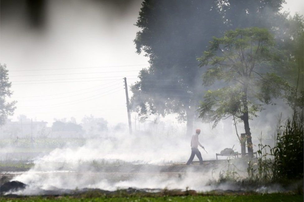 An Indian villager walks amidst smoke that rises from paddy stubble burning in a nearby field at a village on the outskirts of Amritsar, India, 09 October 2018.