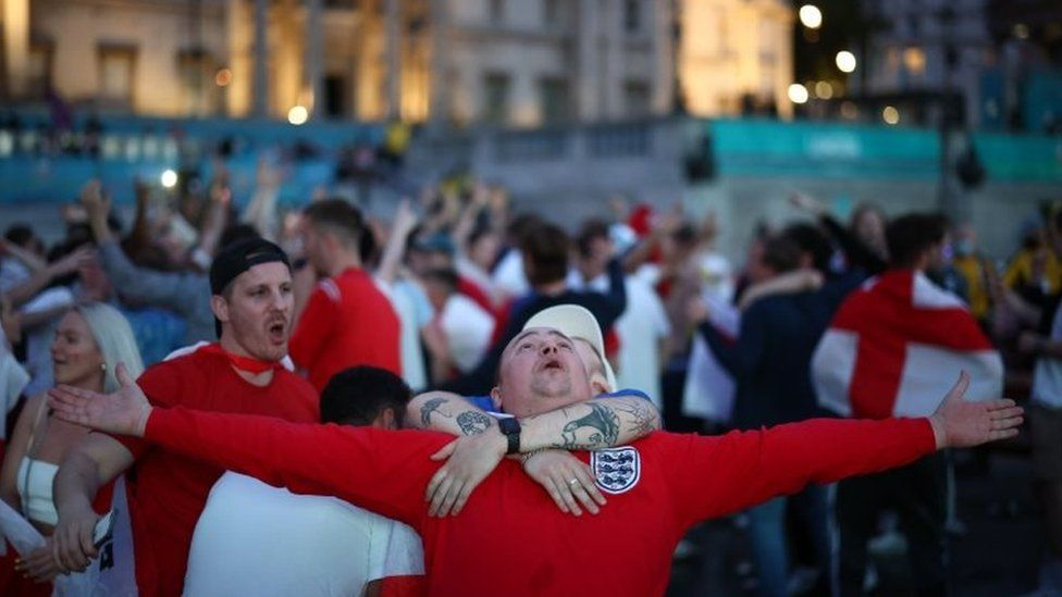 The final whistle is heard in London's Trafalgar Square - confirming England's passage to the Euro 2020 semi-finals