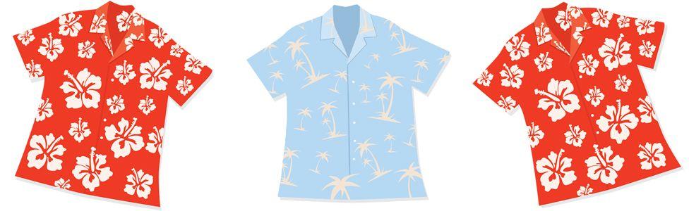 Illustration of three Hawaiian shirts