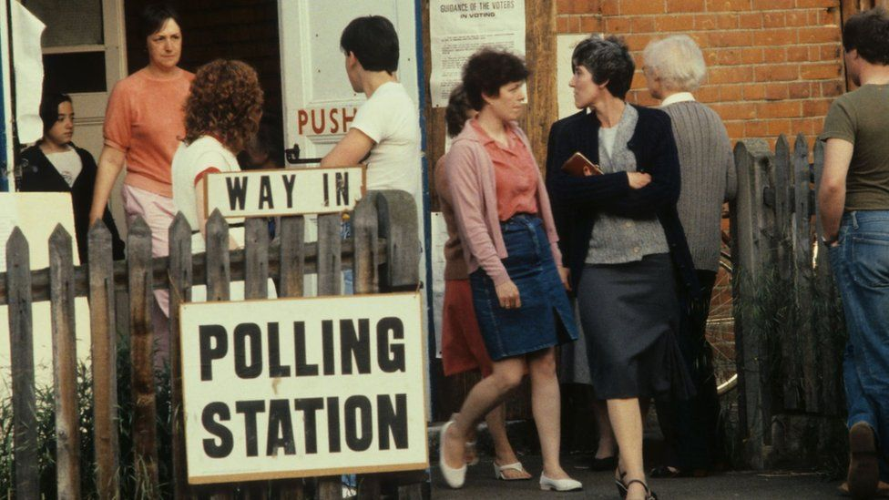 Women at a polling station in 1983