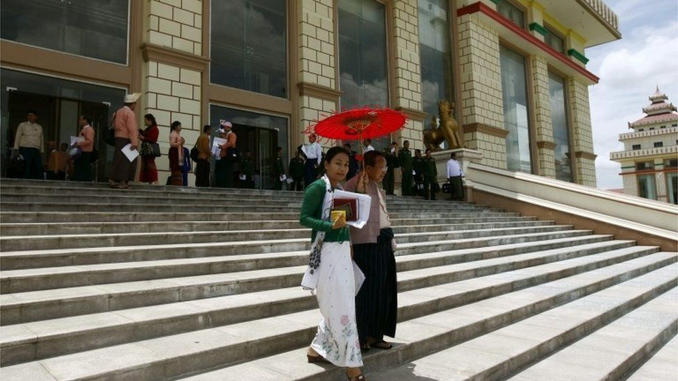 MPs on the steps of Myanmar parliament