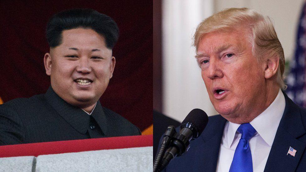 Portraits of Kim Jong-un and Donald Trump