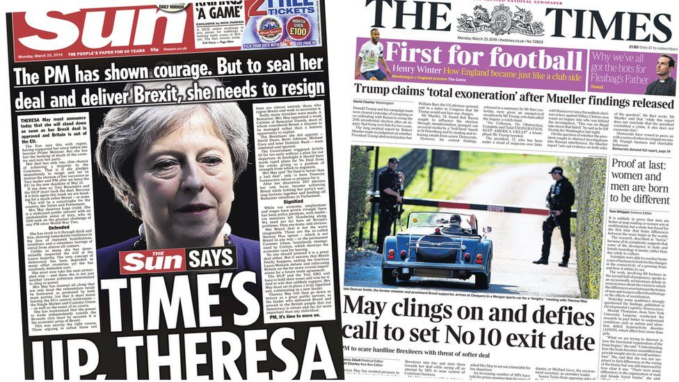 Composite of The Sun and The Times front page