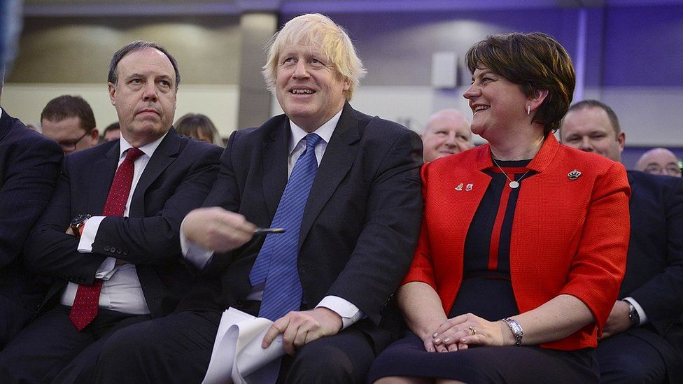Boris Johnson, Arlene Foster and Nigel Dodds at the 2018 DUP party conference