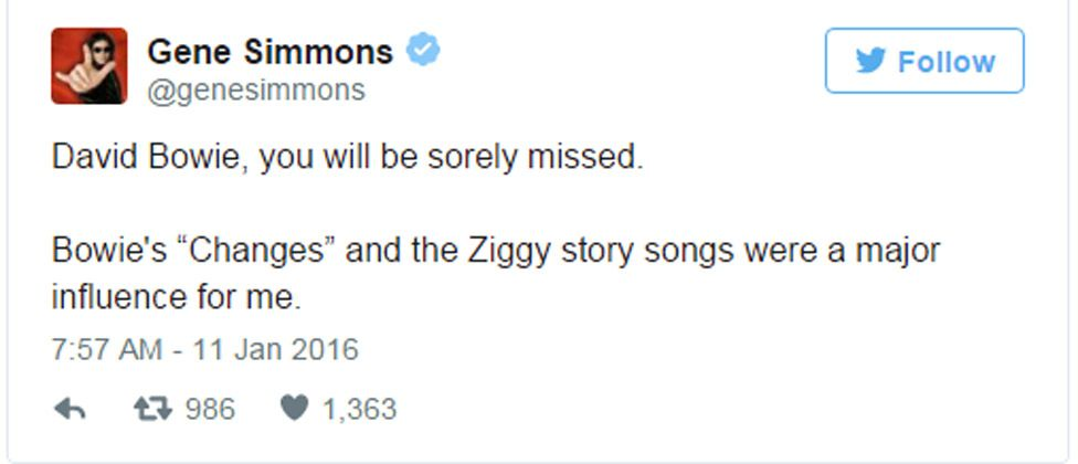"""Gene Simmons tweet: David Bowie, you will be sorely missed. Bowie's """"Changes"""" and the Ziggy story songs were a major influence for me."""
