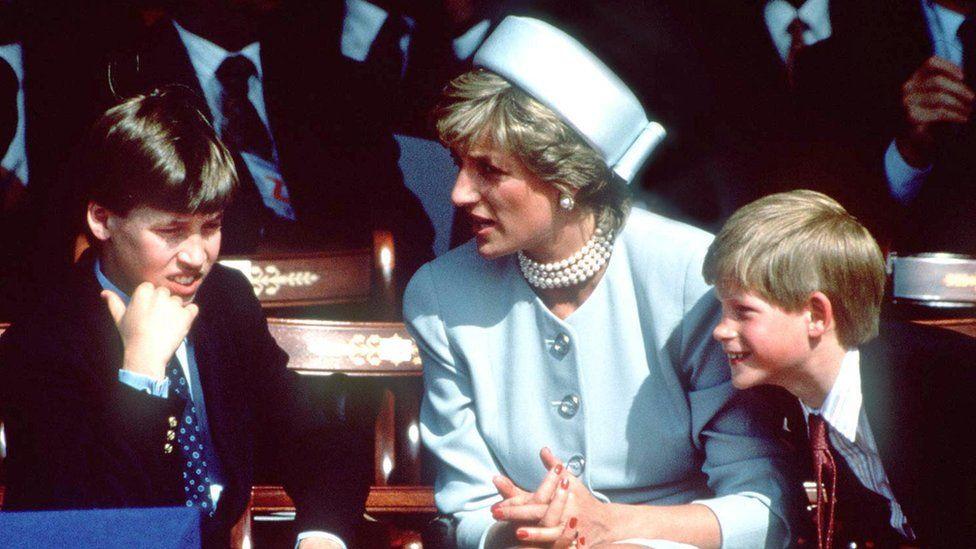Prince William with Princess Diana and Prince Harry