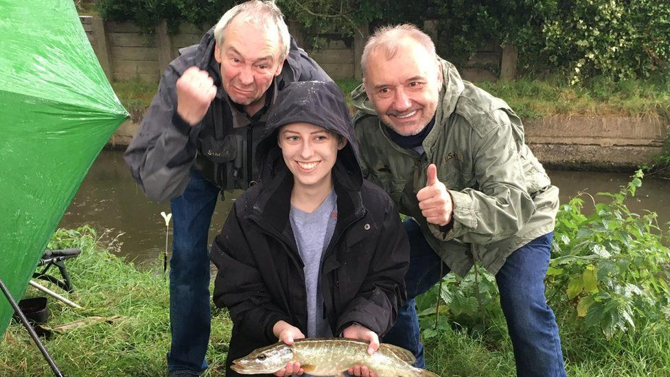 Laura Nuttall with Bob Mortimer and Paul Whitehouse