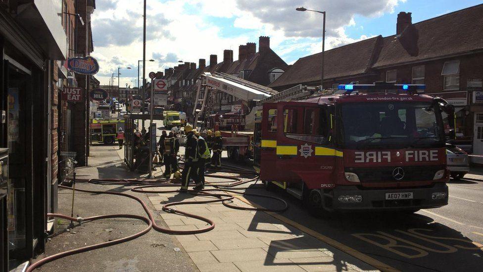 London Fire Brigade attend the scene