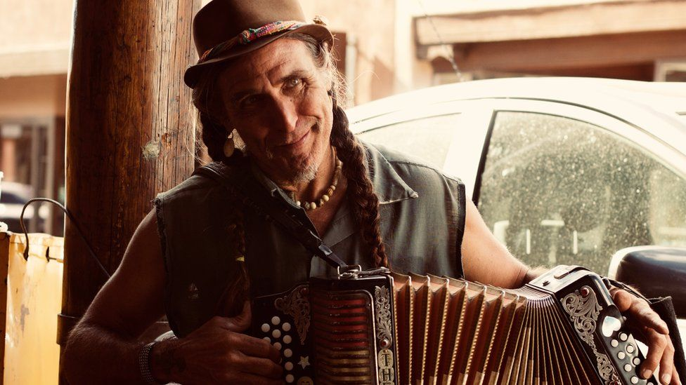 Man playing the accordion