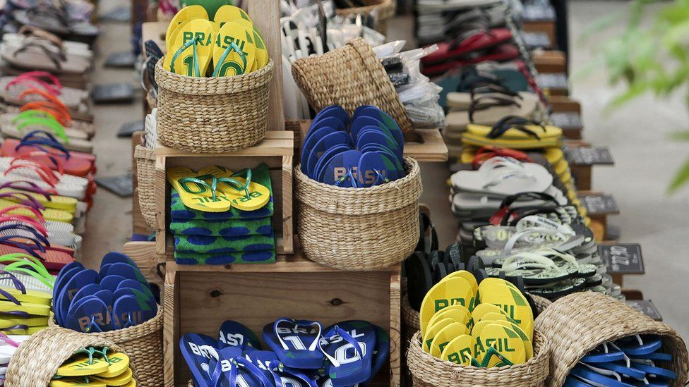 baskets full of Brazil-themed Havaianas on sale