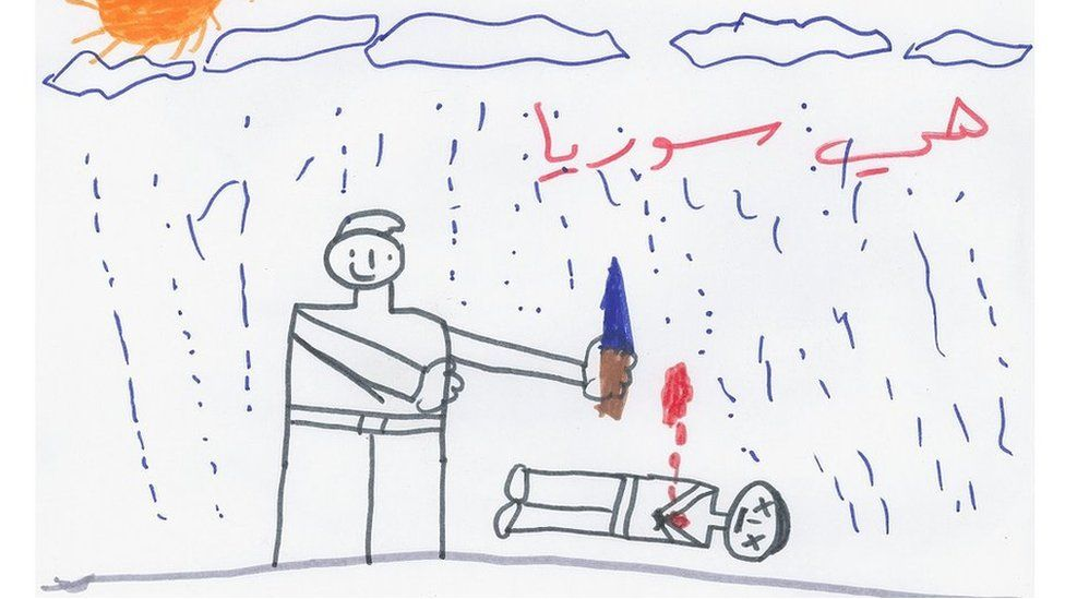 A drawing of a Syrian refugee boy shows an adult standing and next to him there is a corpse.