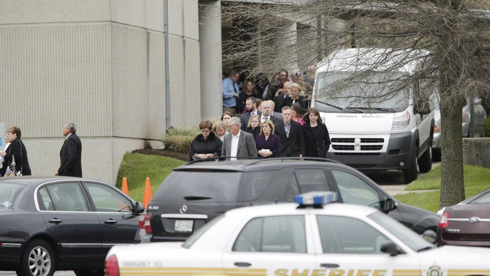 Funeral of Justin Blake Shults and his wife Stephanie Michele Moore Shults in Nicholasville, Kentucky, 8 April