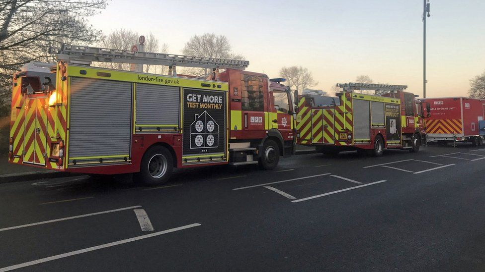 Fire engines at the scene of a fire in west London
