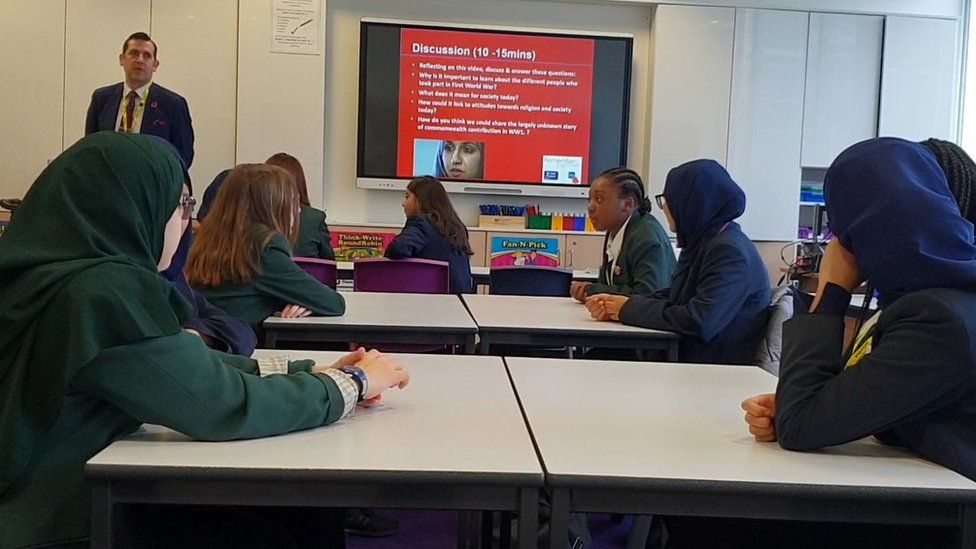 Pupils at Eden Girls School learn about the Muslim contribution to World War One.