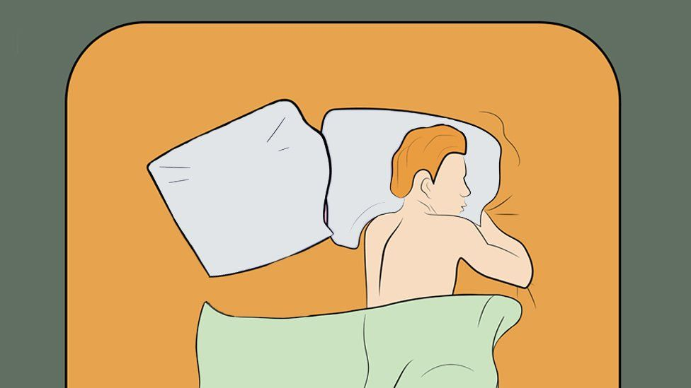 Illustration of a man in bed