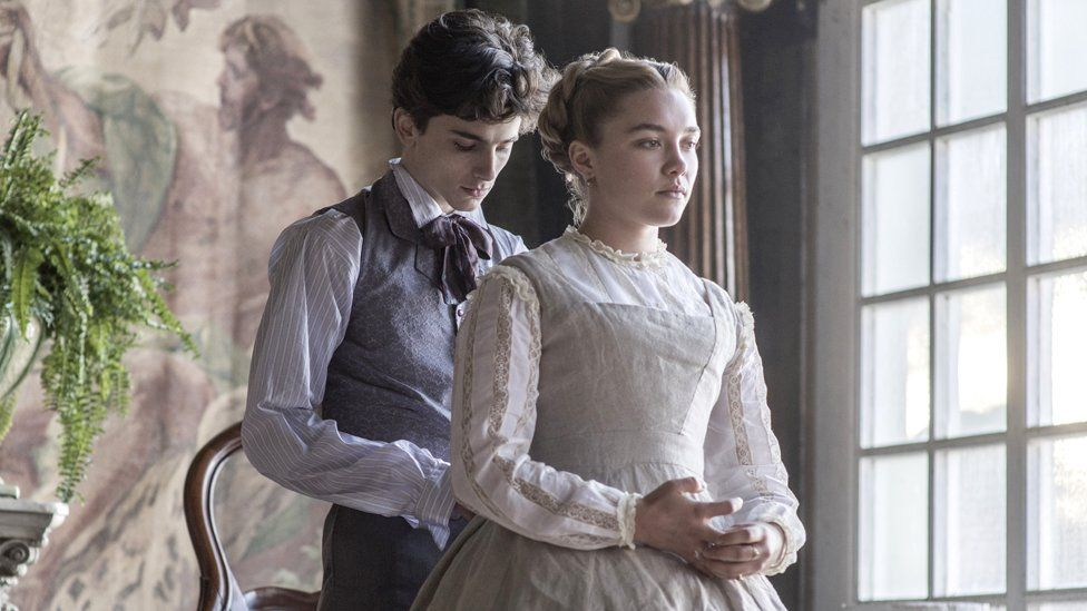 Florence Pugh and Timothee Chalamet in Little Women