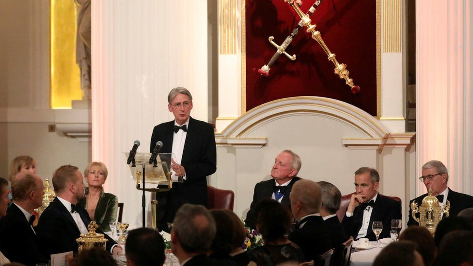 Chancellor of the Exchequer Philip Hammond delivers a speech at the annual Bankers and Merchants Dinner at Mansion House