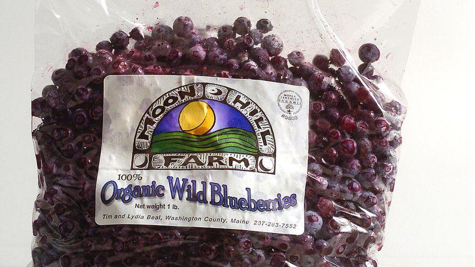 A bag of frozen blueberries