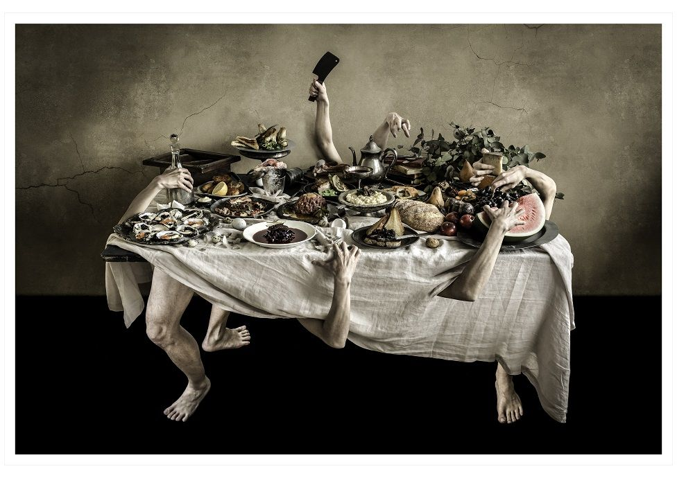 A composite image showing hands and arms extended from a table covered in food