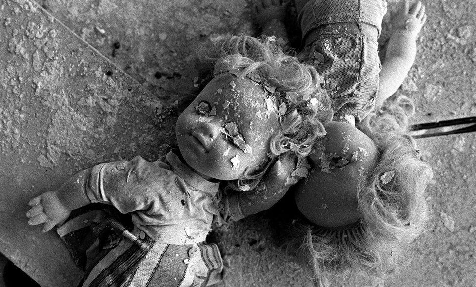 Decayed dolls in Pripyat's school no 2