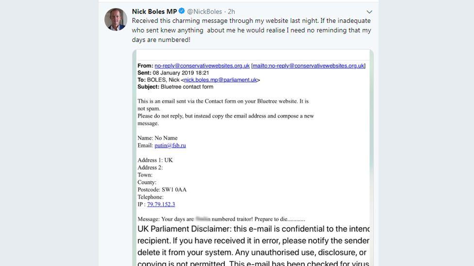 Grab of tweet from Nick Boles