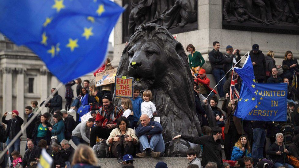 """People gather at Trafalgar Square during the """"Put it to the People"""" march in London, Britain, 23 March 2019"""