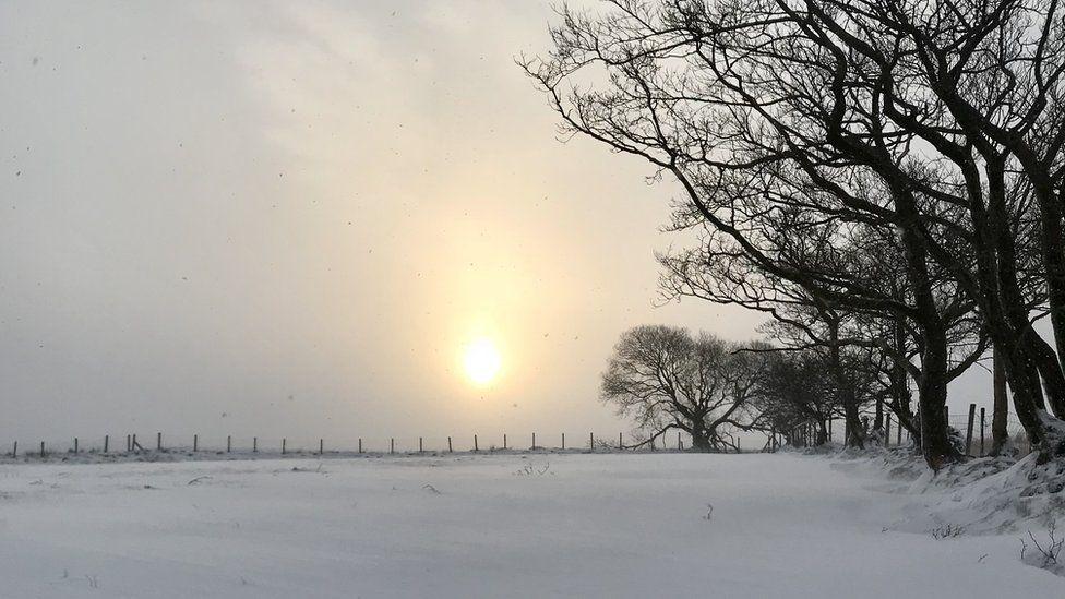 A hazy dawn over Llandyfan, Carmarthenshire