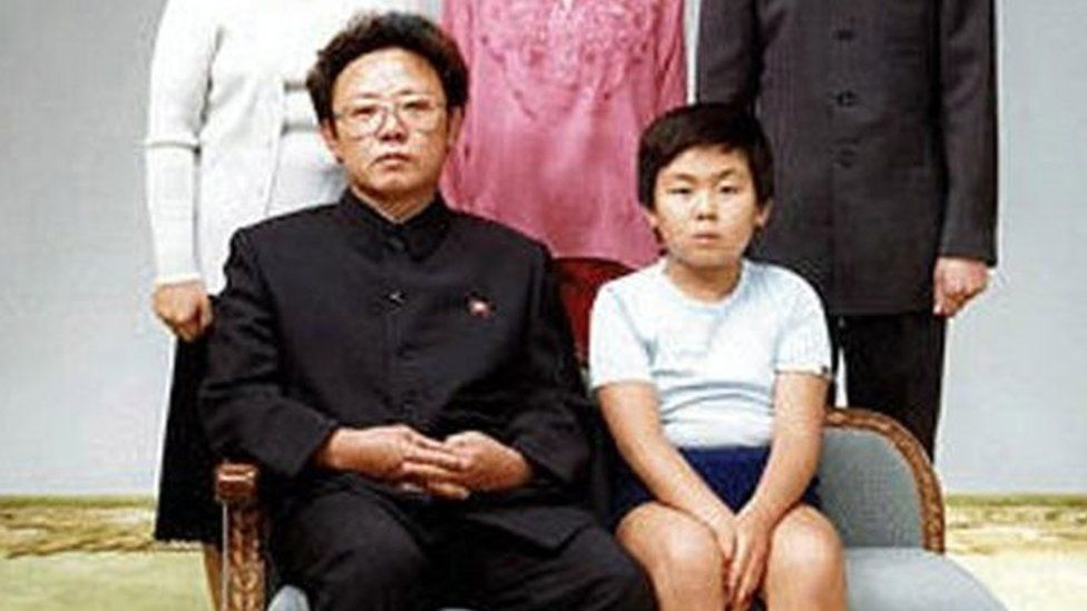 Deceased North Korean leader Kim Jong-il (left) with his first-born son Kim Jong-nam (right) in a 1981 family photo