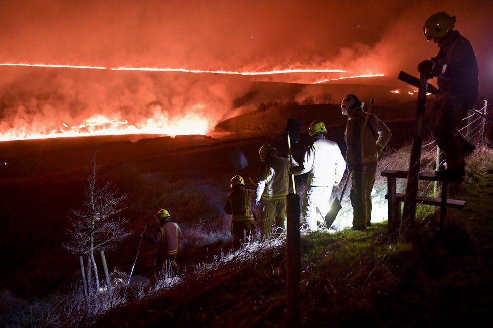 Firefighters at moorland fire near Marsden