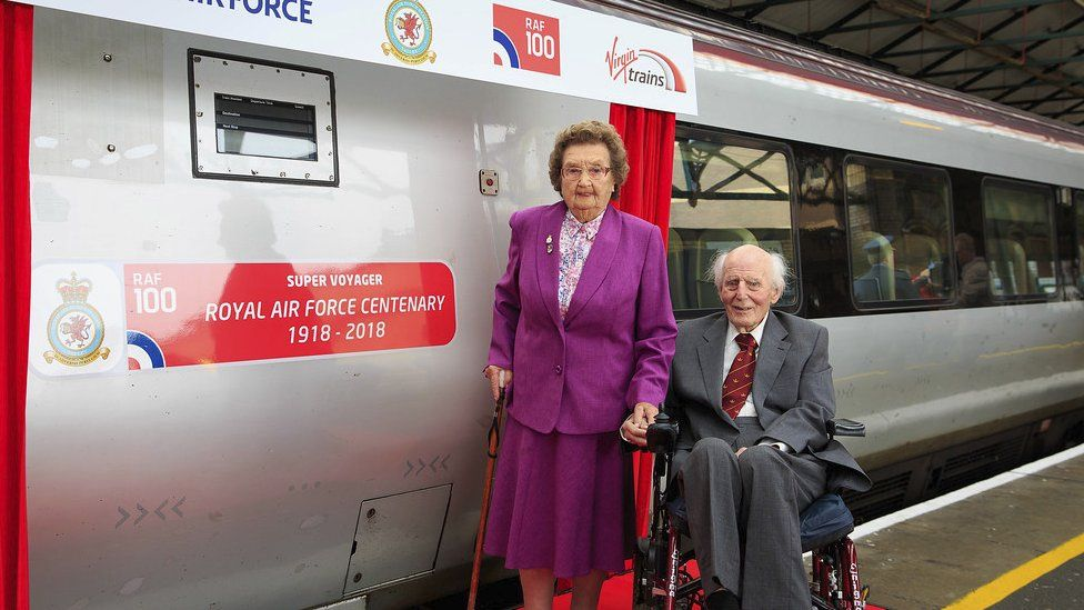 Mary Roberts and Wing Cdr John Wynne unveiled the train