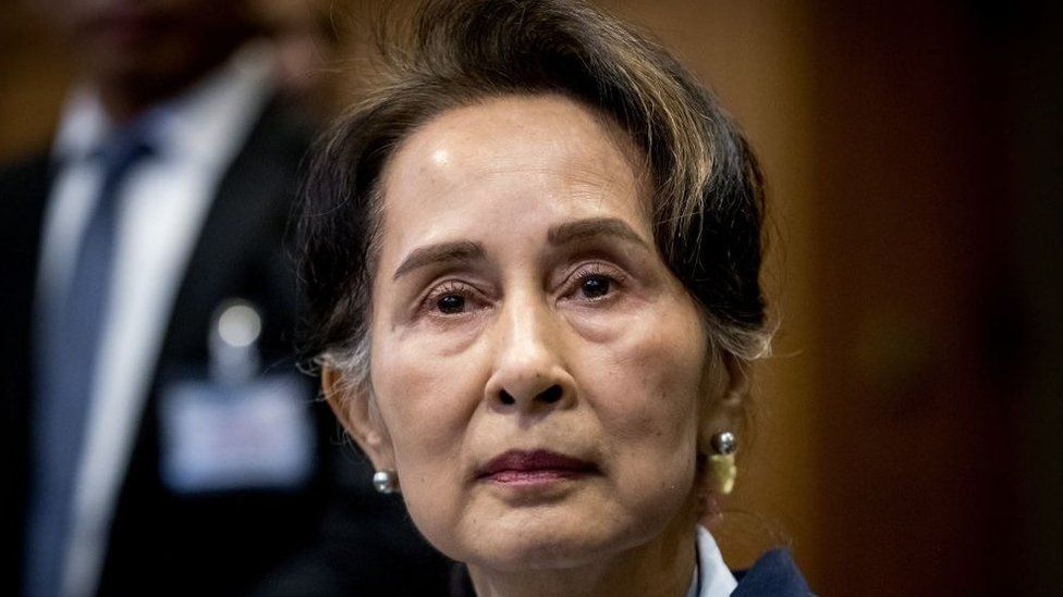 Aung San Suu Kyi at The Hague in 2019