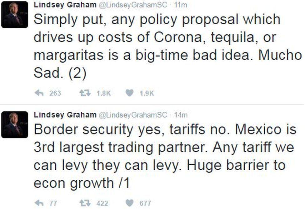 US Senator Lindsey Graham tweeted his response to the tariff plan