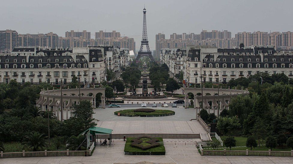 A replica of Paris in Tianducheng, Hangzhou, Zhejiang
