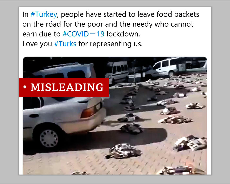 Screenshot of a misleading post claims video in Turkey shows food donations to help people during the coronavirus outbreak