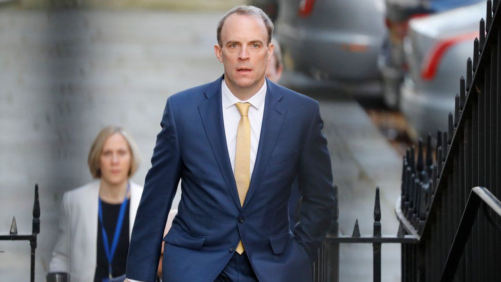 """Foreign Secretary Dominic Raab arrives at Downing street in central London to chair the Government""""s Covid-19 daily briefing on April 7, 2020"""