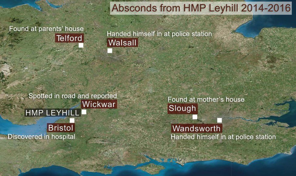Where did absconders from HMP Leyhill